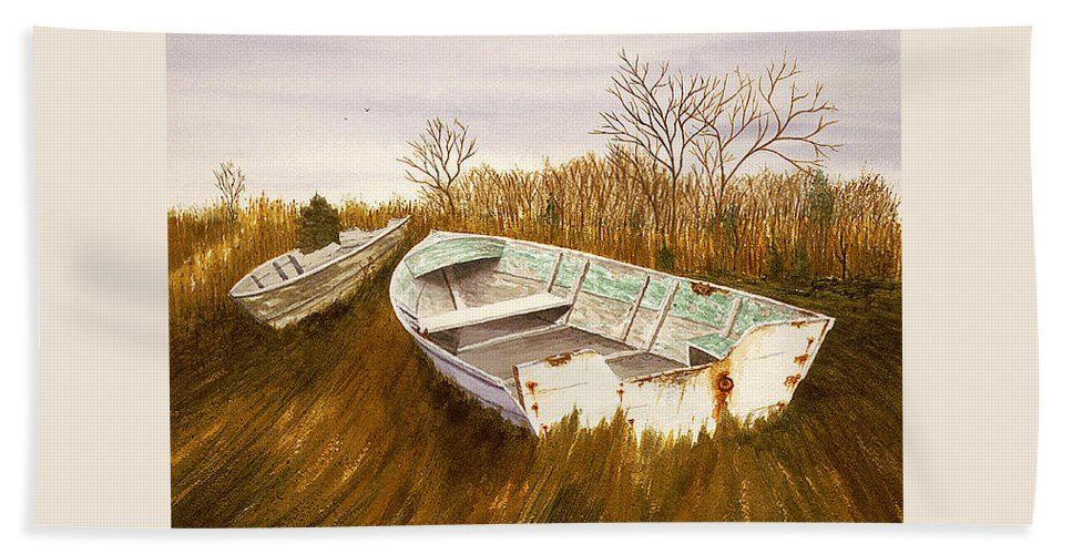 Beach Towel featuring the painting Boats By Causeway by Tony Scarmato