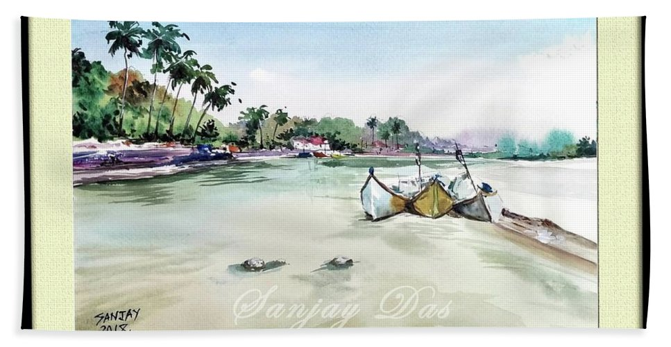 Watercolor Beach Sheet featuring the painting Boats In Beach by Sanjay Das