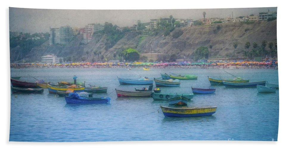 Fishing Boats Beach Towel featuring the photograph Boats In Blue Twilight - Lima, Peru by Mary Machare