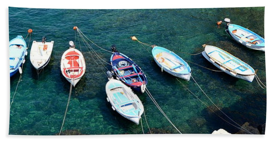 Italy Beach Towel featuring the photograph Boats On A Line by Corinne Rhode