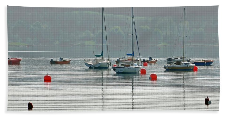 Spring Beach Towel featuring the photograph Boats On Carsington Water by Rod Johnson