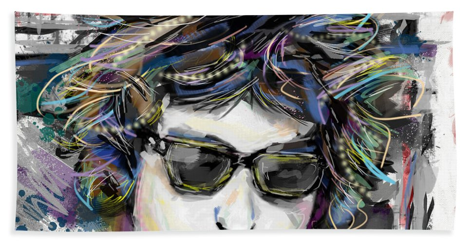 Bob Dylan Beach Towel featuring the mixed media Bob Dylan Art by Ryan Rock Artist