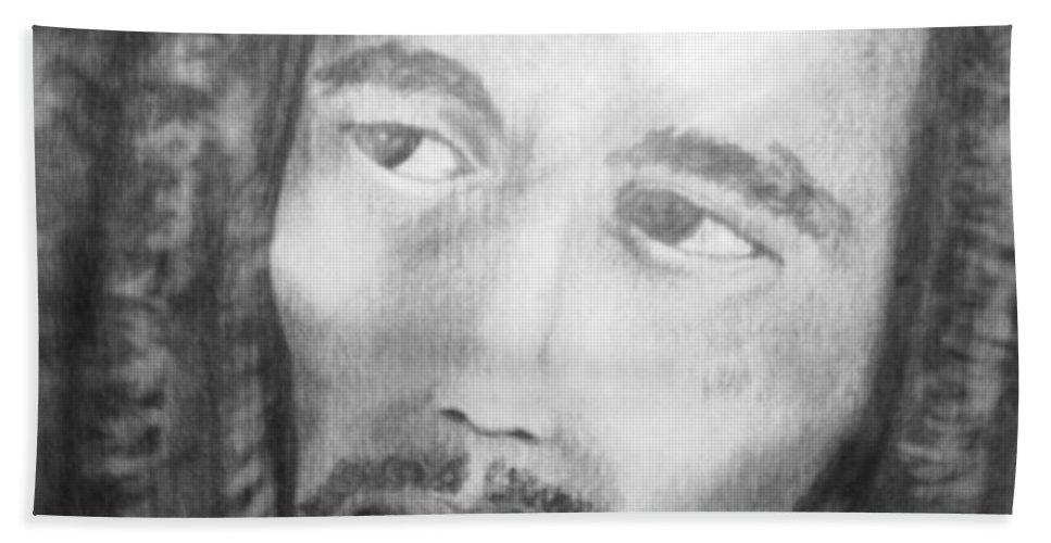 Bob Marley Beach Towel featuring the drawing Bob Marley Pencil Portrait by Roly O