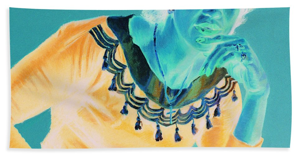 Portrait Beach Towel featuring the painting Bobbi by Jean Hildebrant