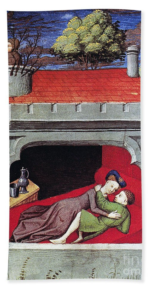 1430 Beach Towel featuring the photograph Boccaccio: Lovers, C1430 by Granger