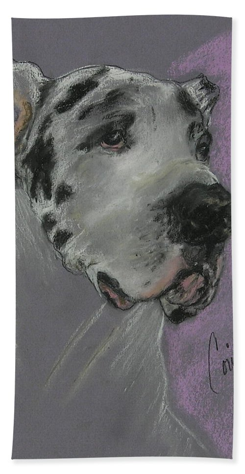Great Dane Beach Towel featuring the drawing Bodhi's Mystique by Cori Solomon