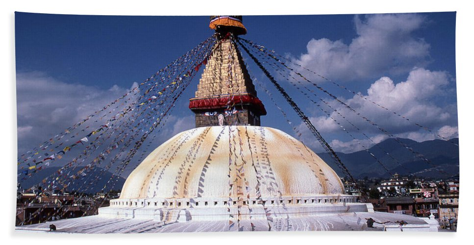 Bodhnath Stupa Beach Towel featuring the photograph Bodhnath Stupa by Patrick Klauss
