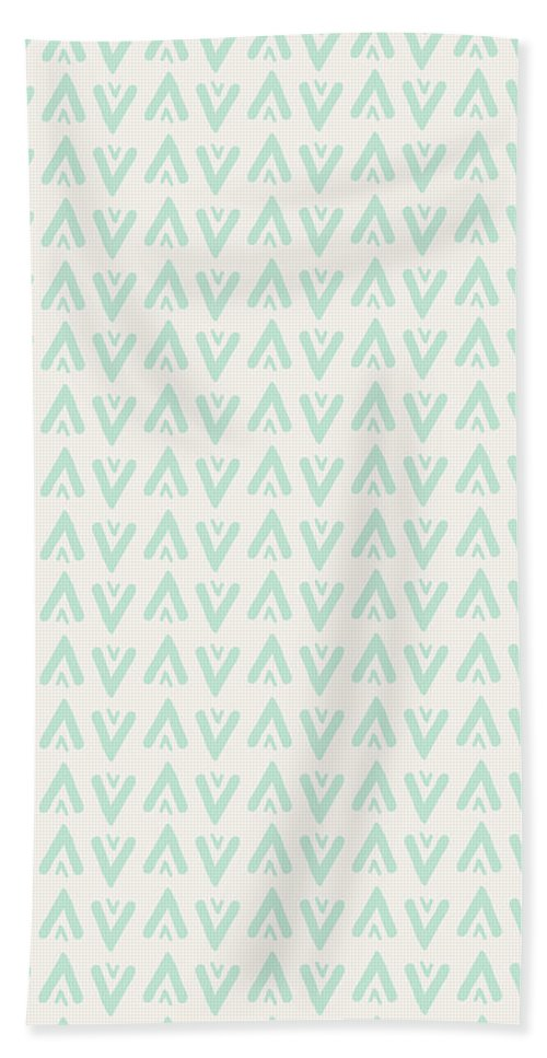Bohemian Style Beach Towel featuring the digital art Bohemian Arrows - Light blue and cream pattern by Allyson Johnson