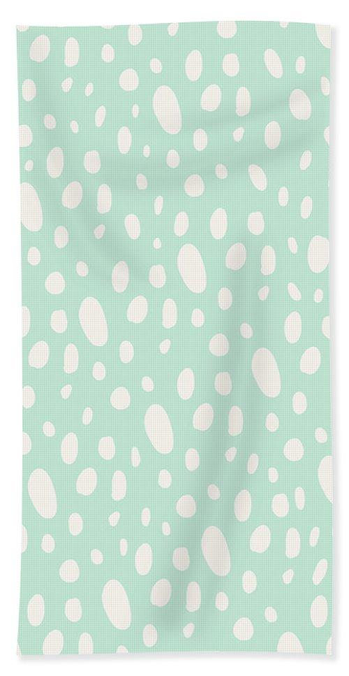 Bohemian Style Beach Towel featuring the digital art Bohemian Pebbles - light blue and cream dot pattern by Allyson Johnson