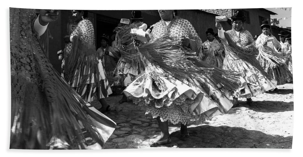 Bolivia Beach Towel featuring the photograph Bolivian Dance Black And White by For Ninety One Days