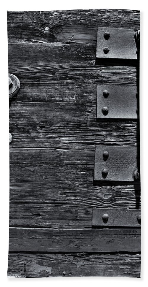 Wood Beach Towel featuring the photograph Bolted Wood by Scott Wyatt
