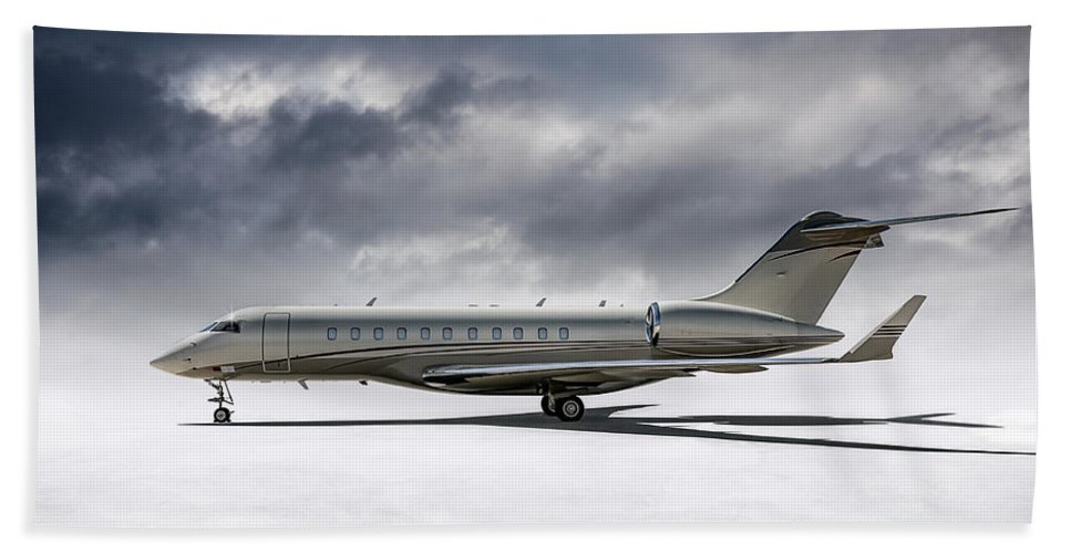 Aviation Beach Towel featuring the digital art Bombardier Global 5000 by Douglas Pittman