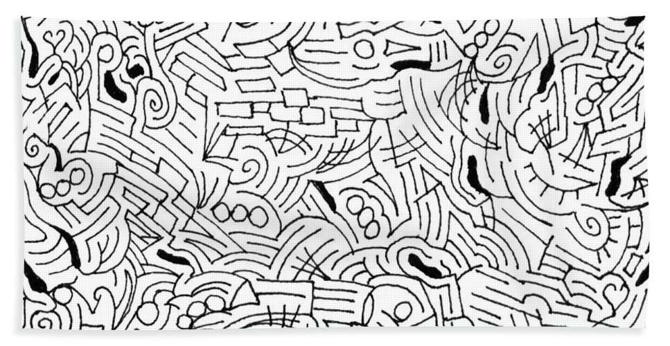 Mazes Beach Towel featuring the drawing Bonding by Steven Natanson