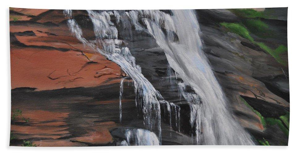 Rocks Beach Towel featuring the painting Bone Creek Falls by Glen Frear