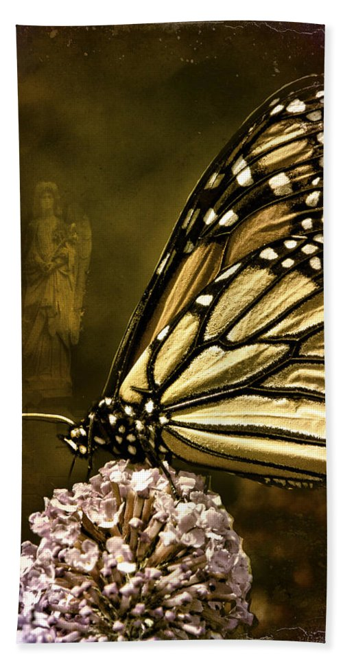 Monarch Beach Towel featuring the photograph Boneyard Butterfly by Chris Lord