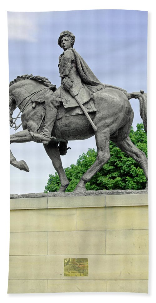 Europe Beach Towel featuring the photograph Bonnie Prince Charlie Statue - Derby by Rod Johnson