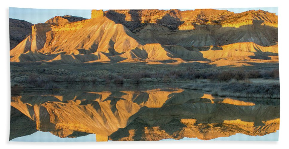 Colorado Beach Towel featuring the photograph Bookcliffs Reflections by Debbie Rudd