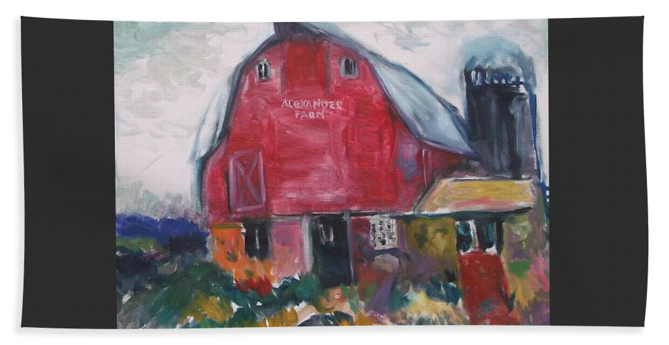 Farm Beach Towel featuring the painting Boompa's Barn by Mykul Anjelo