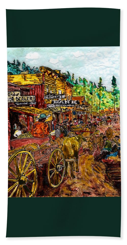 Western Beach Towel featuring the painting Boomtown 1876 by Phil Strang