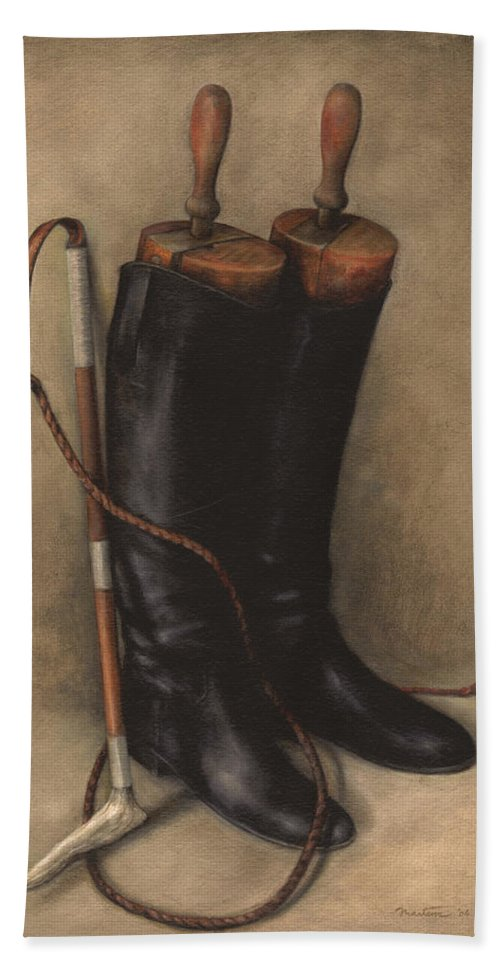 Riding Boots Beach Towel featuring the painting Boots And Whip by Meridith Martens