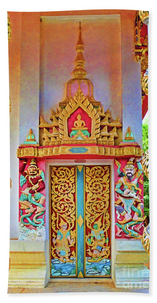 Bophut Beach Towel featuring the photograph Bophut Temple In Thailand by Charlene Mitchell