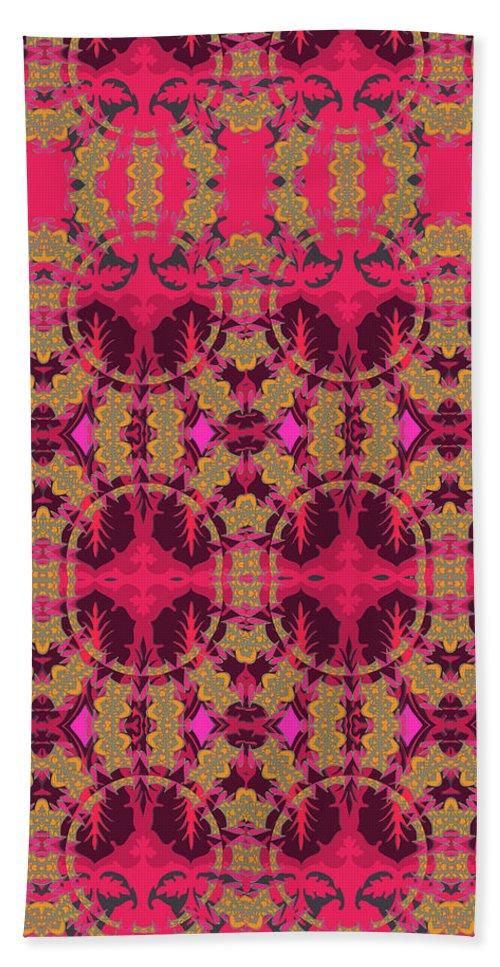 Red Pattern Beach Towel featuring the digital art Bordeaux by Ceil Diskin