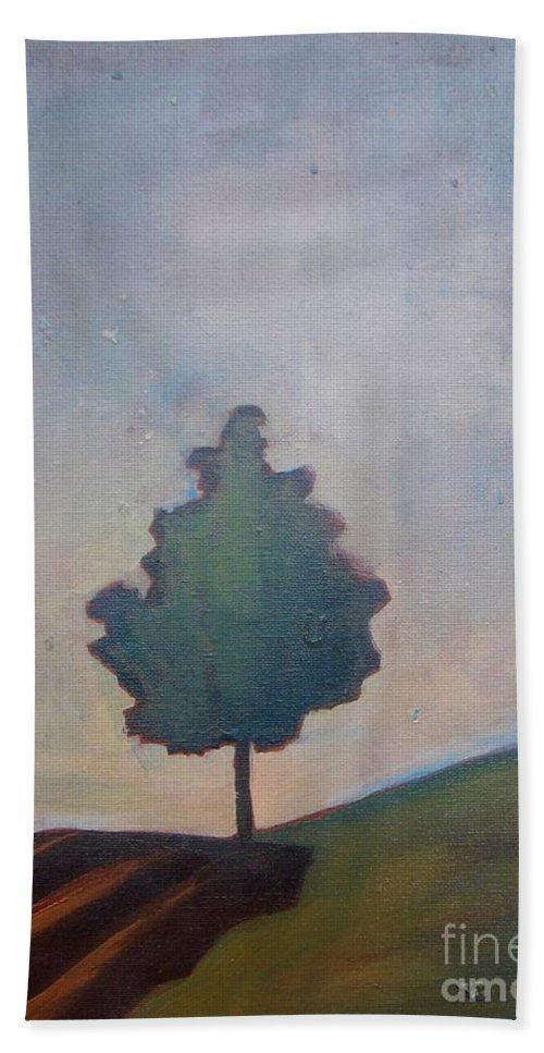 Tree Beach Towel featuring the painting Bordering Tree by Vesna Antic