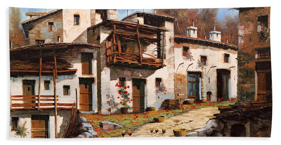 Mountain Village Beach Towel featuring the painting Borgo Di Montagna by Guido Borelli