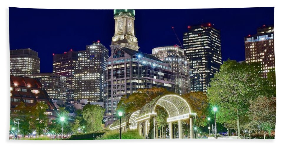 Boston Beach Towel featuring the photograph Boston Above Christopher Columbus Park by Frozen in Time Fine Art Photography