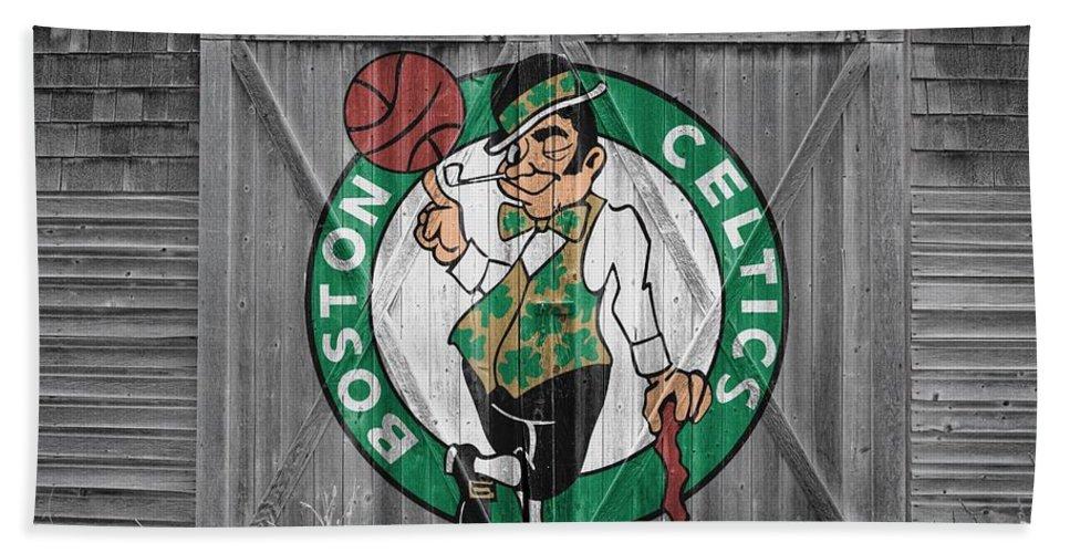 Celtics Beach Towel featuring the photograph Boston Celtics Barn Doors by Joe Hamilton
