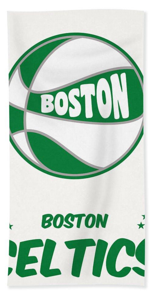 Celtics Beach Towel featuring the mixed media Boston Celtics Vintage Basketball Art by Joe Hamilton