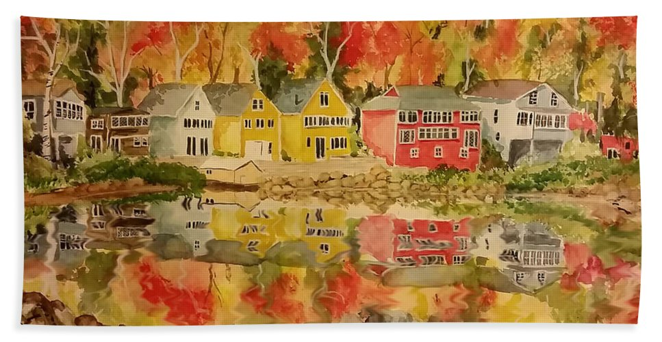 Fall Beach Towel featuring the painting Boston In The Fall by Aaron Beaty