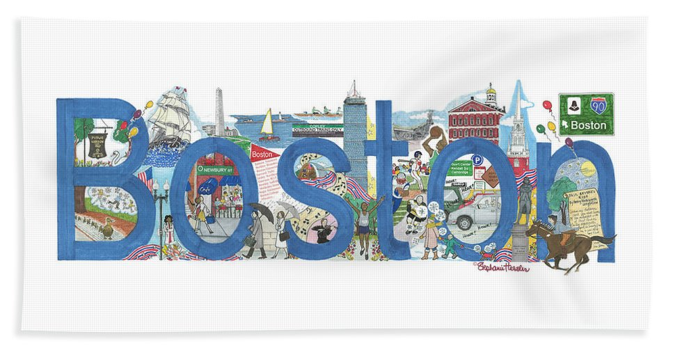 Boston Beach Towel featuring the mixed media Boston by Stephanie Hessler