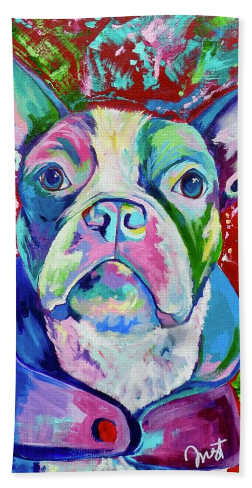 Beach Towel featuring the painting Boston Terrier by Janice Westfall