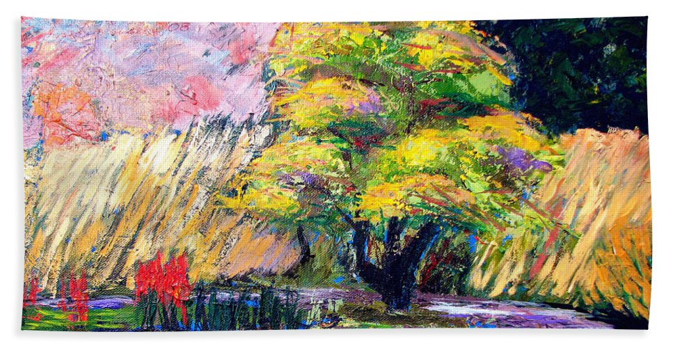 Art Nomad Beach Towel featuring the painting Botanical Garden In Lund Sweden by Art Nomad Sandra Hansen