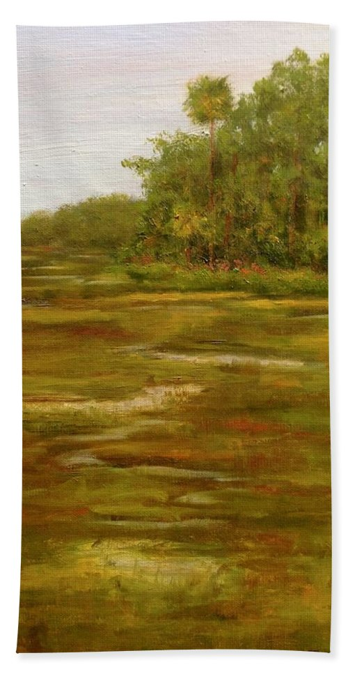 Botany Beach Towel featuring the painting Botany Bay Plantation Marsh by Rosie Phillips