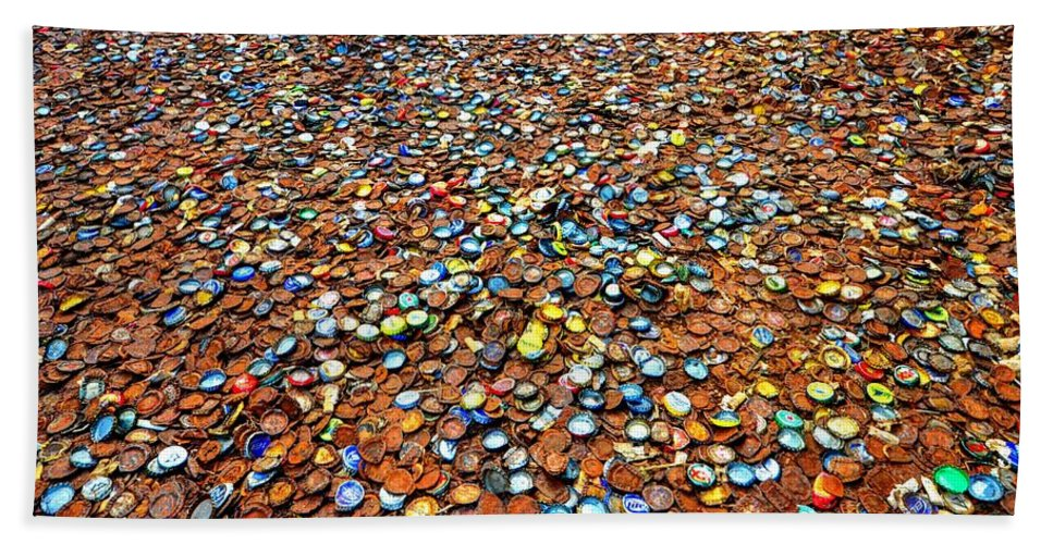 Bottlecap Alley Beach Towel featuring the photograph Bottlecap Alley by David Morefield