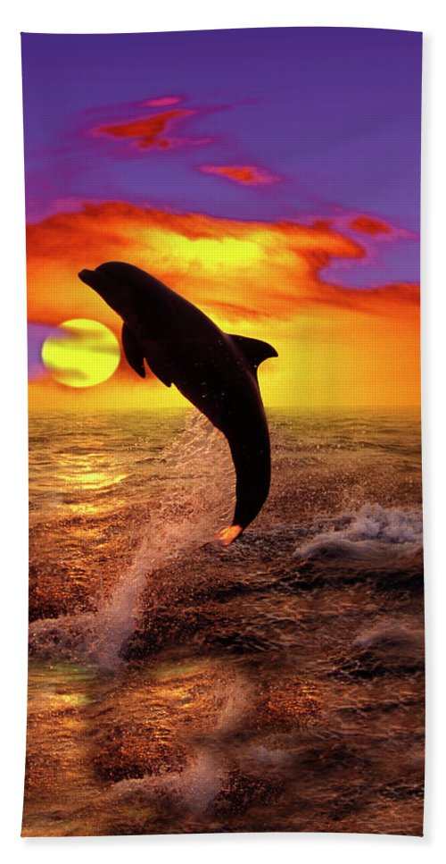 Dolphin Jumping Above Sunset Sea Wall Mural Pixers We Live To