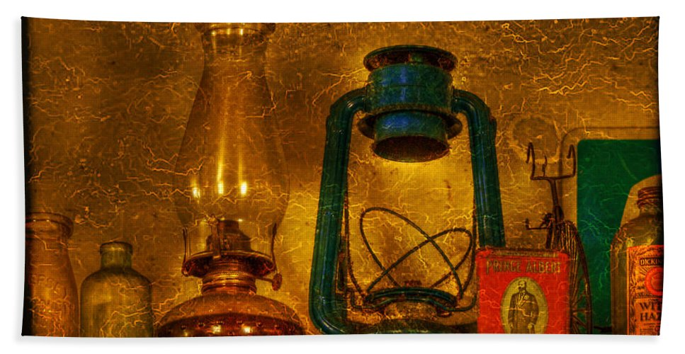 Bottle Beach Towel featuring the photograph Bottles And Lamps by Evelina Kremsdorf