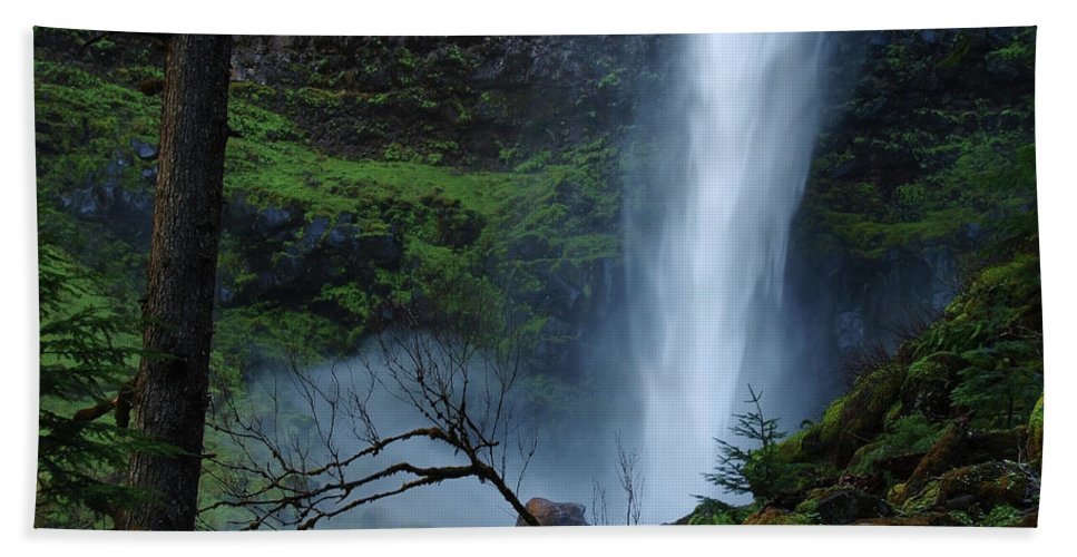 Waterfall Beach Towel featuring the photograph Bottom Of Watson Falls by Teri Schuster