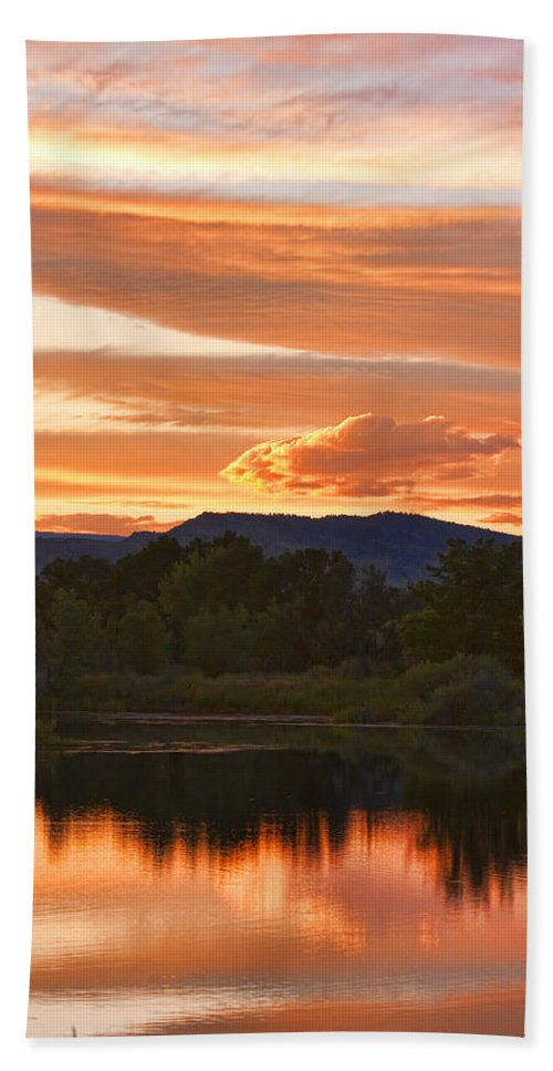 nature Photography Beach Towel featuring the photograph Boulder County Lake Sunset Vertical Image 06.26.2010 by James BO Insogna