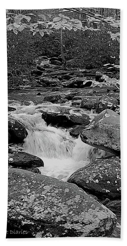 Rocks Beach Towel featuring the digital art Boulder Creek by DigiArt Diaries by Vicky B Fuller