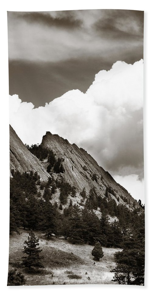 Flatirons Beach Towel featuring the photograph Large Cloud Over Flatirons by Marilyn Hunt