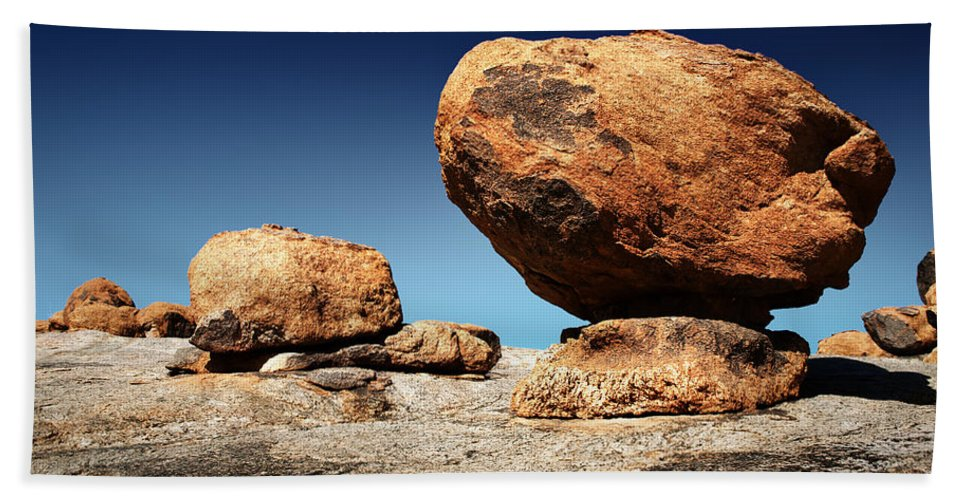 Large Beach Towel featuring the photograph Boulder On Solid Rock by Johan Swanepoel