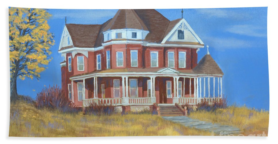 Boulder Beach Towel featuring the painting Boulder Victorian by Jerry McElroy