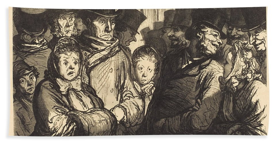 Beach Towel featuring the drawing Boulevard Du Temple A Minuit by Charles Maurand After Honor? Daumier
