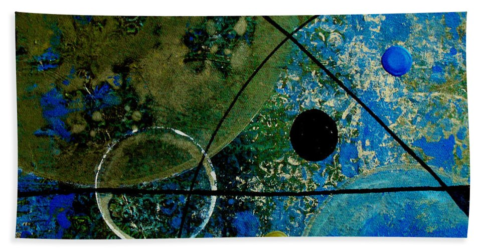 Abstract Beach Towel featuring the painting Bouncer by Ruth Palmer
