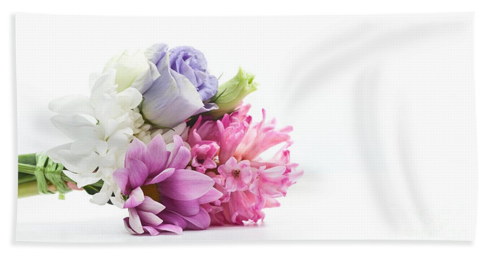 Flowers Beach Towel featuring the photograph Bouquet Of Fresh Flowers Isolated On White by Michal Bednarek