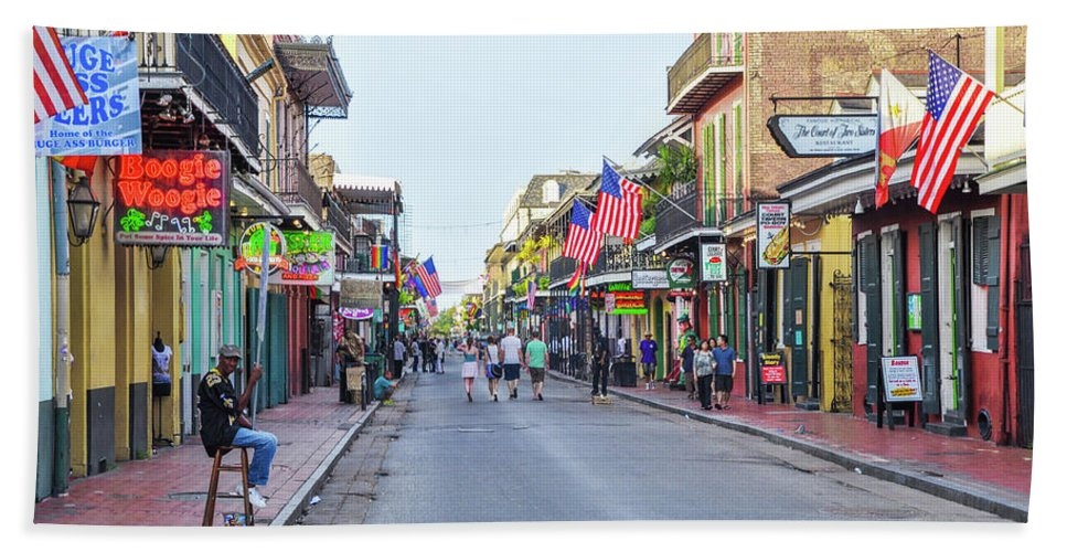 Bourbon Beach Towel featuring the photograph Bourbon Street - New Orleans Louisianna by Bill Cannon