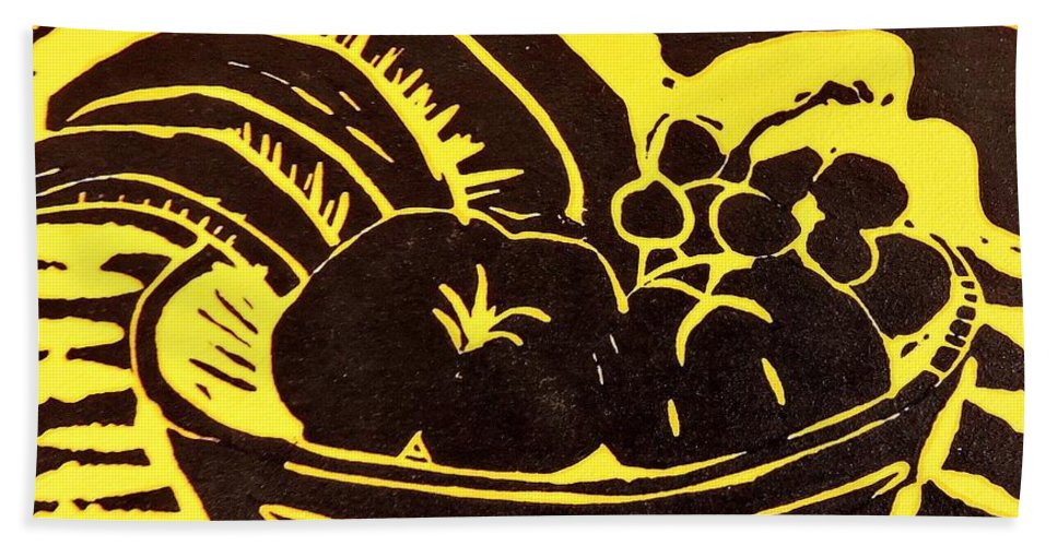 Lino Beach Towel featuring the relief Bowl Of Fruit Black On Yellow by Caroline Street